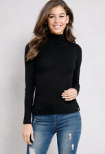 BANG ON THE TREND BLACK TURTLE POLO NECK FINE RIBBED LONG SLEEVE TOP SIZE 8-26