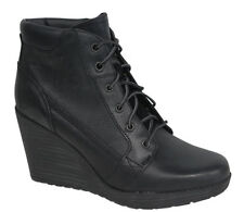 Timberland Meriden Lace Ankle Wedge Womens Boots Shoes Black Leather A11Z4 U69