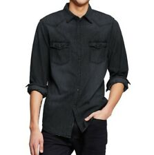 Homme Mossimo Supply Co.Manches Longues Jeans Délavé Col Bouton Chemise Bay