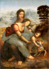 Poster, stampa su tela o vetro acrilico Virgin and Child with... - L. da Vinci