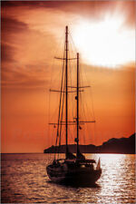 Póster, lienzo o cuadro en metacrilato Old ship sailing to the sunset