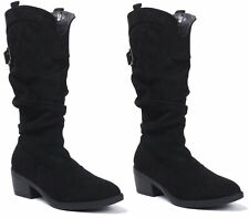 Ladies Womens New Suede Mid Calf Block Heel Pull On Riding Cowboy Biker Boots Sh