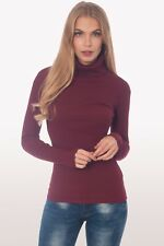 BANG ON THE TREND WINE TURTLE POLO NECK FINE RIBBED LONG SLEEVE TOP SIZE 8-26