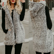 UK 8-26 Womens Winter Fluffy Faux Fur Waistcoat Gilet Hoodie Coat Jacket Outwear