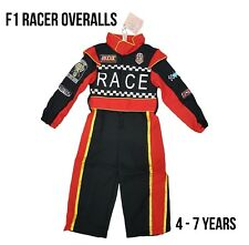 Kids Boys Formula One F1 Racing Driver Racer Fancy Dress Costume Overalls Outfit
