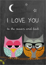 Póster, lienzo o cuadro en metacrilato Owls -  I love you to th... - GreenNest