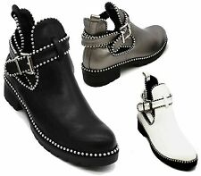 LADIES WOMENS BUCKLE CUT OUT CHELSEA ANKLE BLACK FLAT LOW HEEL SHOES BOOTS SIZE