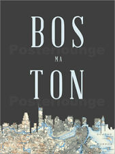 Póster, lienzo o cuadro en metacrilato Boston Skyline Map - Amelia Gier