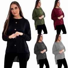 New Ladies Womens Long Sleeve Front Button High Low Batwing Top 8-22