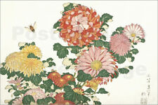 Poster / Toile / Tableau verre acrylique Bee and chrysanthemums - K. Hokusai