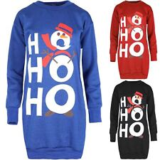 Ladies Christmas Snowman Ho Ho Ho Baggy Sweatshirt Womens Knit Jumper Dress Top