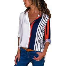 Casual Long Sleeve Color Block Stripe Button Shirt