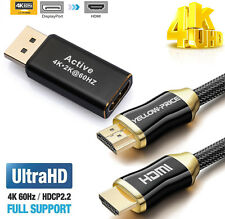 DP Display Port Male to HDMI Female Cable Converter Adapter + HDMI 2.0 Cable 4K