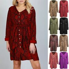 Womens Ladies Animal Prints Long Sleeve Leopard Snake Front Button V Neck Dress