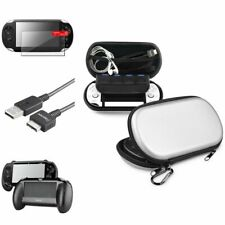 Black Hand Grip+Screen Protector+Silver EVA Case+USB Cable For Sony PS Vita PSV