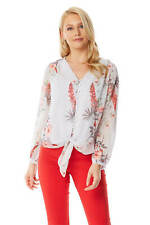 Roman Originals Women Floral Tie Front Button Long Sleeve Blouse