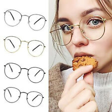 New! Women Men Large Oversized Metal Frame Clear Lens Round Circle Eye Glasses