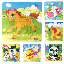 WOODEN 15 CM ANIMAL JIGSAW PUZZLE EARLY LEARNING KIDS EDUCATIONAL TOY