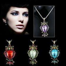 Vintage Crystal Owl Animals Pendant Necklace Long Chain Women Party Gift Jewelry