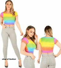 Womens Short Sleeve Rainbow Print Crop Top Ladies Round Neck Party Wear Mini Top