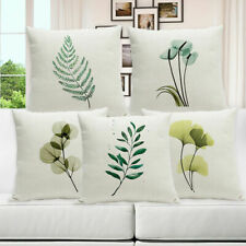 Fresh Garden Leaf Cotton Linen Cushion Cover Pillow Case Sofa Waist Home Decor