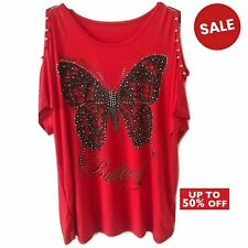 Ladies Women New Cold Shoulder Butterfly Print Blouse Baggy Metallic Beaded Top