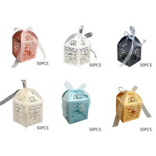 50pcs Cross Hollow Birthday Wedding Party Paper Favor Candy Boxes With Ribbon