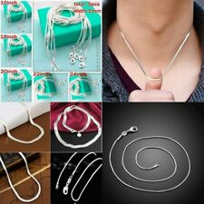 "16-24"" 5Pcs/set  Solid Silver Snake Chain Pendant Necklace Women DIY Jewelry"