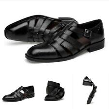 Summer Mens Business Casual Sandals Ankle Strap Flats Soft Leather Shoes Pumps