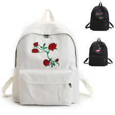 Fashion Flamingo/Rose Embroidered Backpack Large Capacity Travel School Bag Lady