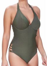 FREYA GLAM ROCK SWIMSUIT OLIVE GREEN GOLD STRIPE UNDERWIRED PADDED BRA 3842 NEW