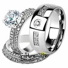 His & Hers Stainless Steel Vintage Bridal Ring Set & Mens Zirconia Wedding Band