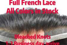 Full French Lace Mens Toupee Breathable Wig Hairpiece Indian Remy 100%Human Hair