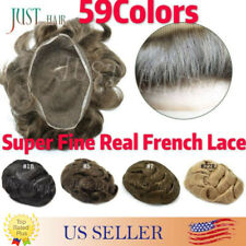 FULL FRENCH LACE Remy Hair Replacement Basement System Mens Toupee Hairpiece Wig