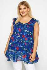 Yours Clothing Women's Plus Size Cobalt Ditsy Floral Chiffon Smock Top