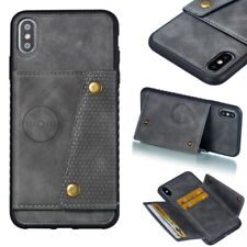 For iPhone XS Max XR X 6S 7 8 Plus Leather PU Card Pocket Slot Stand Case Cover