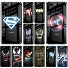 Marvel Luminous Glass Phone Case For iPhone X XS MAX XR 6 6s 7 8 Plus Back