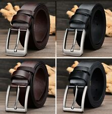 Men's Classic Metal Pin Buckle Handcrafted Genuine Cowhide Leather Jean Belt New