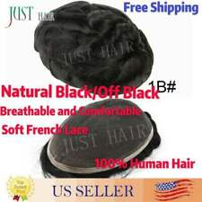 Undetectable French Lace Hair Replacement System Men Toupee Hairpiece for Men1B#