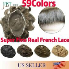 FULL French Lace Hair Replacement System Black Brown Blonde Men Toupee Hairpiece