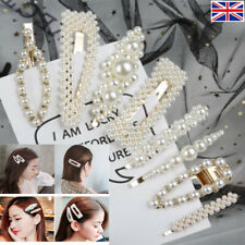 Womens oversized faux pearl hair snap clip grip, bridal accessories, UK seller