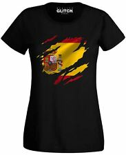 Womens Torn Spain Flag T-Shirt Spanish Madrid Country national football