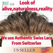 Breathable Full Swiss Lace Toupee Brown Human Hair Men Hairpiece Bleached System