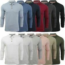 Mens Polo T-Shirt by Brave Soul 'Lincoln' Pique Long Sleeved
