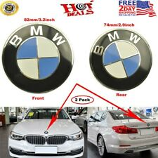 2 PCS ORIGINAL (82mm & 74mm) BMW Badge Emblem All Series Front Hood + Rear Trunk