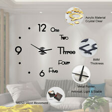 Modern DIY Large Wall Clock 3D Mirror Surface Sticker Home Office Room Decor NEW
