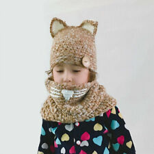Cute Hat Fox Shape Baby Hat Kid Infant Toddler Warm Beanie Knit Cap+Winter Scarf