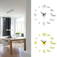 Large DIY Wall Clock Kit 3D Acrylic Mirror Surface Sticker Office Home Art Decor