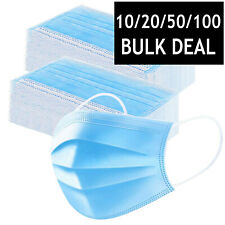 FACE MASK SURGICAL DISPOSABLE FACE MASKS NOSE MOUTH COVER ANTI-BACTERIAL 3 PLY