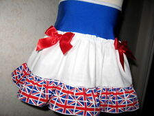 NEW Blue White Red Union Jack Frilly Festival Mini Skirt Party Team GB-All sizes